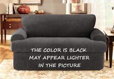 NIP SURE FIT STRETCH PIQUE BLACK 3 PIECE (LOOSE BACK) LOVESEAT FURNITURE COVER