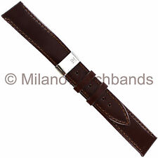 18mm Morellato Brown Genuine Leather Stitched Deployment Buckle Watch Band