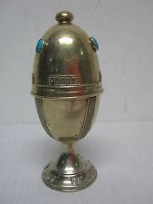 VTG MD ISRAEL STERLING SILVER JUDAICA CITRON EGG w TURQUOISE & HEBREW WRITING 9""