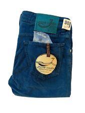 """JACOB COHEN Size 30""""Waist 34""""Leg Blue Cord PW625 COMF Slim Fit Jeans RRP £299"""