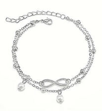 Faux Pearl Double Chain Ankle Bracelet New Women'S Silver Infinity Symbol And