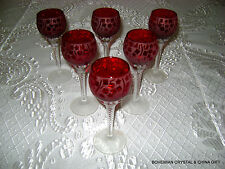 NEW CZECH BOHEMIAN GARNET RED ETCHED CRYSTAL CORDIAL GLASSES ARTIST SIGNED 6 PC