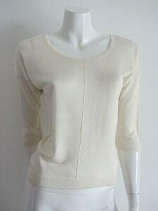 COUNTRY ROAD sz S/8-10 lightweight fine knit cream 3/4 sleeve jumper EUC