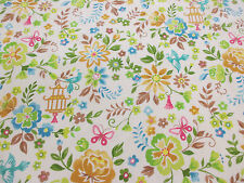 """Ivory Floral """"chinoise"""" Printed 100% Cotton Poplin Fabric. PER METRE!"""
