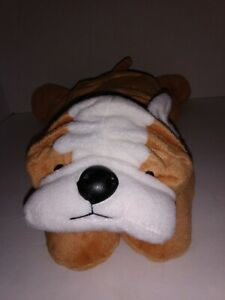 Ty Pillow Pals BRUISER English Bulldog Dog Plush Tan Blue Bow 1996 Stuffed Toy