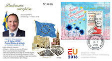 "PE695 FDC European Parliament ""Women's Day / Swedish PM LÖFVEN / Weiss"" 03-2016"