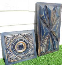 2 panneaux, boiseries ancien bois sculpté style neo breton peint et patiné (359)