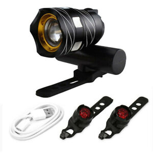 MTB T6 LED Light Super Bright Front And Rear Light Set 15000LM Bicycle Light USB
