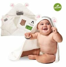 Amuniq Bamboo Baby Hooded Towel Hippo Design Toddler Newborn + Washcloth New