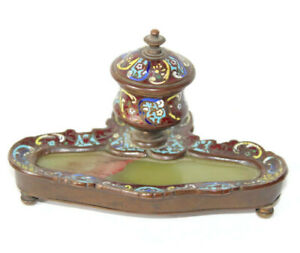 Antique French Bronze Enamel Cloisonne Onyx Inkwell With Pen  Desk Collectible