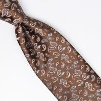 John G Hardy Mens Silk Necktie Brown Blue Paisley Brocade Weave Woven Tie Italy