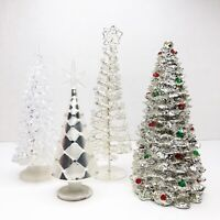 Vintage Miniature Christmas Evergreen Tree White Silver Tabletop Decor Lot of 4