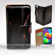 Wallet Phone Case Flip Cover for Samsung Galaxy S5 - Black Polygon Infra Red