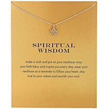 Star Of David Spiritual Wisdom Silver Necklace on Gift Statement Card, NWT