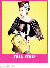PUBLICITE ADVERTISING 086  2012  sac à main Miu-Miu haute couture Mia Wasikowska