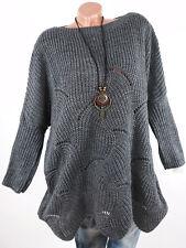 Strickpullover Damen Pullover grau Oversize Italy Grobstrick 40 42 44 46 Kleid