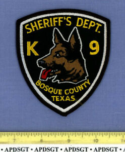 """BOSQUE COUNTY SHERIFF K-9 TEXAS Police Patch K9 DOG CANINE 4"""""""
