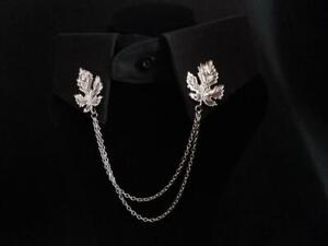 Beautiful Unisex Sterling 925 Pure Silver Maple Leaves Chain Collar Tips
