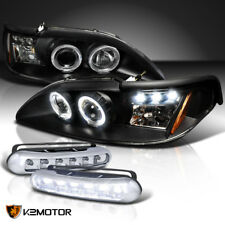 94-98 Mustang Halo Projector Headlight Signal Black+LED DRL Fog Lamps