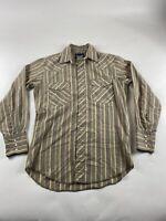 Wrangler Men's Sz S Long Sleeve Pearl Snap Striped Shirt  Tan Western Cowboy