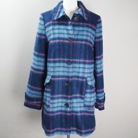 Cath Kidston Coat Size 10 Check Tweed Blue Floral Lining Wool Blend Pockets BNWT