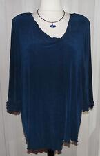 Kim&Co extravagantes Shirt Gr.XXL Marine-Blau asymmetrischer Saum / Rüschenärmel