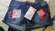 Almost famous shorts 7 Embroidered Rose designs High rise Stetch denim NEW