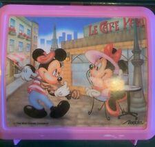 PINK 1980's Mickey & Minnie Mouse Paris plastic Aladdin lunchbox W/ Thermos