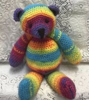 "Handmade 🌈Rainbow 🌈 Teddy Bear Cuddle size 12"" Crochet Knit CE Marked Soft Toy"