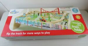 CAROUSEL WOODEN CITY TRAIN TABLE 56 PIECE TRAIN SET BOXED WITH INSTRUCTIONS #NS#
