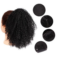 Synthetic Kinky Curly Drawstring Ponytail Short Afro Bun Clip In Hair Extensions