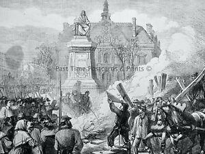 1871 Print FRANCE CIVIL WAR IN PARIS BURNING THE GUILLOTINE Franco Prussian War