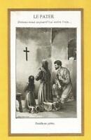 IMAGE PIEUSE  HOLY CARD LE PATER PRIERE EN FAMILLE