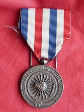 Railway Medal of Honour French  with ribbon 1942 médaille des cheminots ww2
