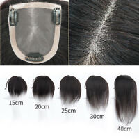 Clip In 100% Real Human Hair Topper Hairpiece Top Toupee Straight Hair 15-40cm