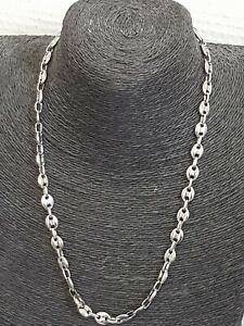 collier homme chaîne maille grain de café argenté acier inoxydable sans nickel