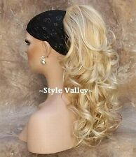 Curly Blonde Mix Ponytail Extension Hairpiece Long Claw Clip in/on Hair Piece