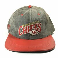 VTG KANSAS CITY CHIEFS NFL SUEDE LEATHER SNAPBACK BASEBALL USA MADE HAT CAP