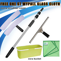 WINDOW CLEANING SET SQUEEGEE SCRUBBER EXTENDABLE TELESCOPIC POLE UP TO 9M