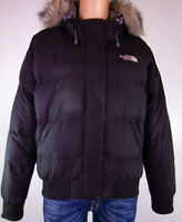 The North Face Womens Goose Down Black Fur Hooded Puffer Coat Size M