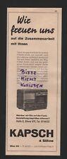 WIEN, Werbung 1938, Kapsch & Söhne Funk-Tontechnik