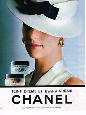 PUBLICITE ADVERTISING 035  1986  CHANEL  cosmétiques  TEINT blanc & creme