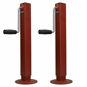 Pair Telescopic Screw Jack Prop Stand Trailer Drop Stand Level 800kg Capacity