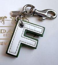 "Coach Leather Initial Alphabet Letter ""F"" F Key Fob Chain Keychain Charm"