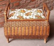 Old Puff Linen Chest Laundry Bin Seat Chest Korbtruhe Basket Wicker Basket Old