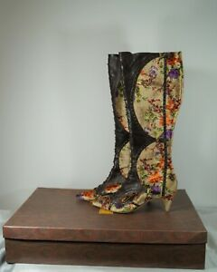 ETRO Stampa Fiore Pointed Toe Leather & Velvet Floral Kitten Heel Boots Size 7.5