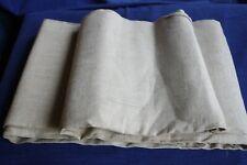 Coupon N°3 de tissu ancien pour torchon en fil de lin beige écru  610 x 100 neuf