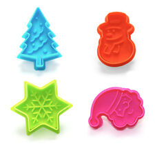 Christmas Tree Santa, Snowman, Snowflake Plunger Cookie Cutters Sugarcraft Icing