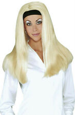 Long Blonde All American Girl Wig with Attached Black Headband