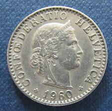 """Münze 20 Rappen Schweizer Franken 1960 """"B"""" aus Umlauf gültiges Zahlungsmittel"""